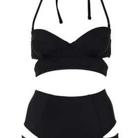 Black Slashed Cut Out Bikini - Swimwear  - Clothing