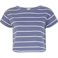 Blue and white stripe cropped t-shirt - t-shirts / tanks / sweats - sale - women