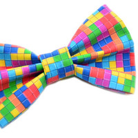 Tetris Themed Bow Tie with Adjustable Strap by uniquechicbowtique