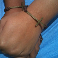 Matching Rustic Bronze Cross Bracelets His and Hers Bracelets Couples Bracelets You Choose Color