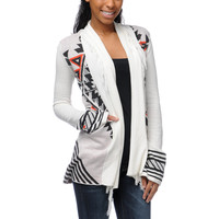 Billabong Girls Issah Tie Native Print White Cardigan Sweater at Zumiez : PDP