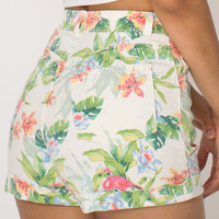 American Apparel - Flamingo Print Stretch Bull Denim High-Waist Cuff Short