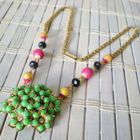 Green Flower Cluster Necklace / Upcycled Vintage / OOAK