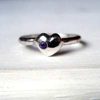 You Are Loved Amethyst and Sterling Silver Heart Ring Recycled Silver Size  7 Eco Jewelry