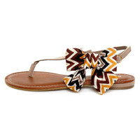 Bamboo Bloom 61 Taupe Zig-Zag Print Side Bow Thong Sandals - $20.00