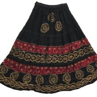Bohemian Skirts, Spring Batik Printed Gypsy Lightweight Summer Skirt