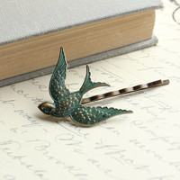 Bird Bobby Pin Flying Bird Vintage Patina by apocketofposies