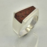 Dinosaur Bone Wedge Shaped Inlay Silver Ring | JewelerJim - Jewelry on ArtFire