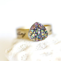 OOAK Rainbow Titanium Druzy Ring 05 by DobleEle on Etsy