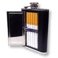 6 oz. Flask with Built in Cigarette Case (For King Size & 100's)