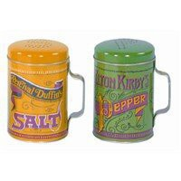 Yellow and Green Retro Salt & Pepper Shaker Cans