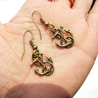 ancient vintage style bronze anchor earringsunique by braceletcool