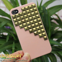 Antique Brass pyramid stud And Hard Case for iPhone 4 4g 4s