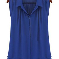 Blue Lapel Sleeveless Ruffles Buttons Blouse - Sheinside.com