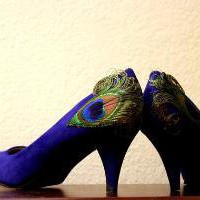 Royal Blue Peacock Pumps with Lower Heel  Size 85 by LaPlumeEthere