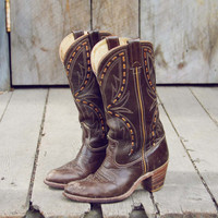 Vintage Chocolate Stitch Cowboy Boots, Sweet Vintage Cowboy Boots