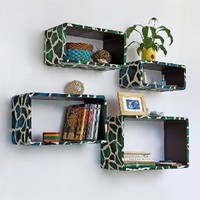 Trista - [Blue Green Giraffe] Rectangle Leather Wall Shelf / Bookshelf / Floating Shelf (Set of 4)
