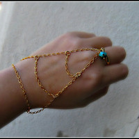 gold and turquoise slave bracelet by alapopjewelry
