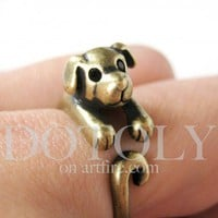 Miniature Puppy Dog Ring in Bronze Sizes 5 to 9 available | dotoly - Jewelry on ArtFire
