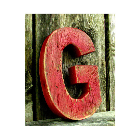 Rustic barn wood letter g painted from secondnaturewoodwork on - Wood letter wall decor ...