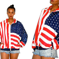 Vtg USA Flag Stars &amp; Stripes American Zip Up by LuluTresors