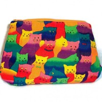 Cats Cosmetic Bag Bright Colorful Corduroy | kathisewnsew - Bags & Purses on ArtFire