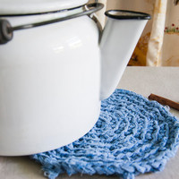 Pot Holder - Blue - Rag Crochet - Modern Farmhouse Kitchen - Textile Arts