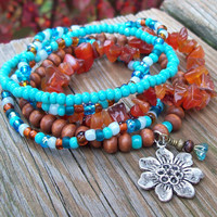 Carnelian and Turquoise Beaded Bracelet Stackers              - Action, Love and Joy