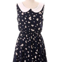 Peter Pan Collar Hearts Print Dress - Retro, Indie and Unique Fashion
