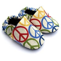 Handmade Peace Baby Crib Shoes Size 0 3 6 9 12 18 by GrowingUpWild