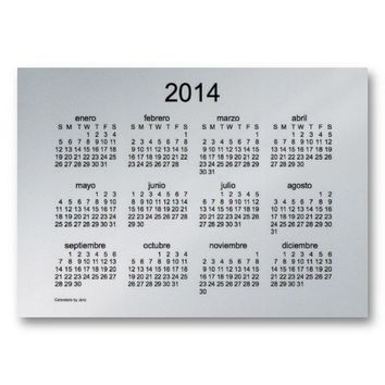 2014 tarjetas del calendario espanol de negocios business card template from Zazzle.com