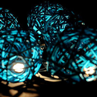 20 x Blue color Rattan ball string light patio outdoor decoration deco room wedding patio party oriental asia