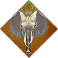 Elephant totem, elephant art, original colored pencil drawing, taupe, grey, red