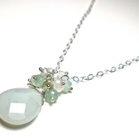 Amazonite Necklace with Tourmaline Moonstone and Chrysoprase by OddsAndEndsByKaley