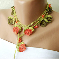 Free Shipping Coral green tones and coral bead flower by Periay