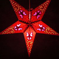 Star Lanterns Red Butterfly & Hearts 24""