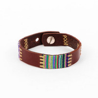 Stitched and Woven Indie Bracelet in Dark Brown Multi :: tobi