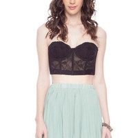 Short Pleated Chiffon Skirt in Mint :: tobi