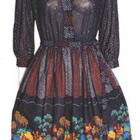 Sheer Black Vintage 1970s Dress