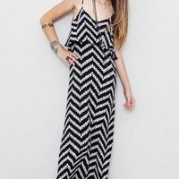 Blu Moon Summer Lovin' Maxi Dress in Black and White Zig Zag on LoLoBu