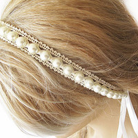 Bridal Pearl Headband, Lace Pearl Wedding Head Piece,  Bridal Hair Accessory, Vintage Style, wedding accessory
