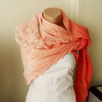 NEW 2012 Spring Model Hand Dyed Orange Color Scarf from by Periay