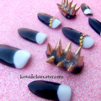 Glam Black and white half moon Gold Spiked & Studded 3D Nails 3D False/Fake Nail