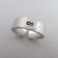 INFINITY- Hand Stamped and Hammered Aluminum Ring - Customizable