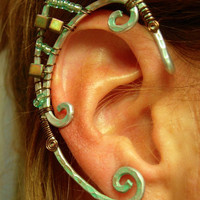 Pair of Aluminum Elven Ear Cuffs with Teal Blue Patina, Iridescent Copper colored cube Myuki beads and mini aqua seed beads