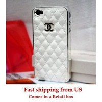 White and Silver Leather designer inspired Iphone 4 Case