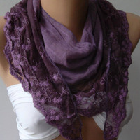 Purple Elegance Shawl / Scarf with Lace Edge by womann on Etsy
