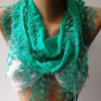 Nile Green Elegance Shawl / Scarf with Lace Edge by womann