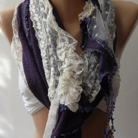 Beige and Purple Elegance Shawl / Scarf with Lace Edge by womann