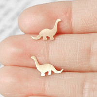 Brontosaurus Earings In 9ct Yellow Gold, Handmade In The UK | Luulla